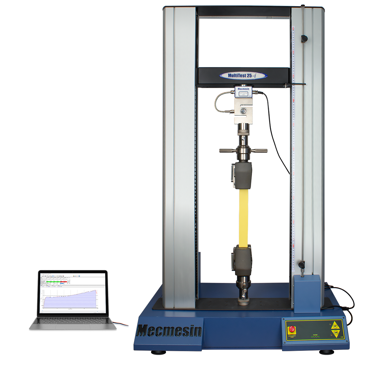 MultiTest twin-column (high capacity 10-50 kN) tensile testing machine, shown with with laptop