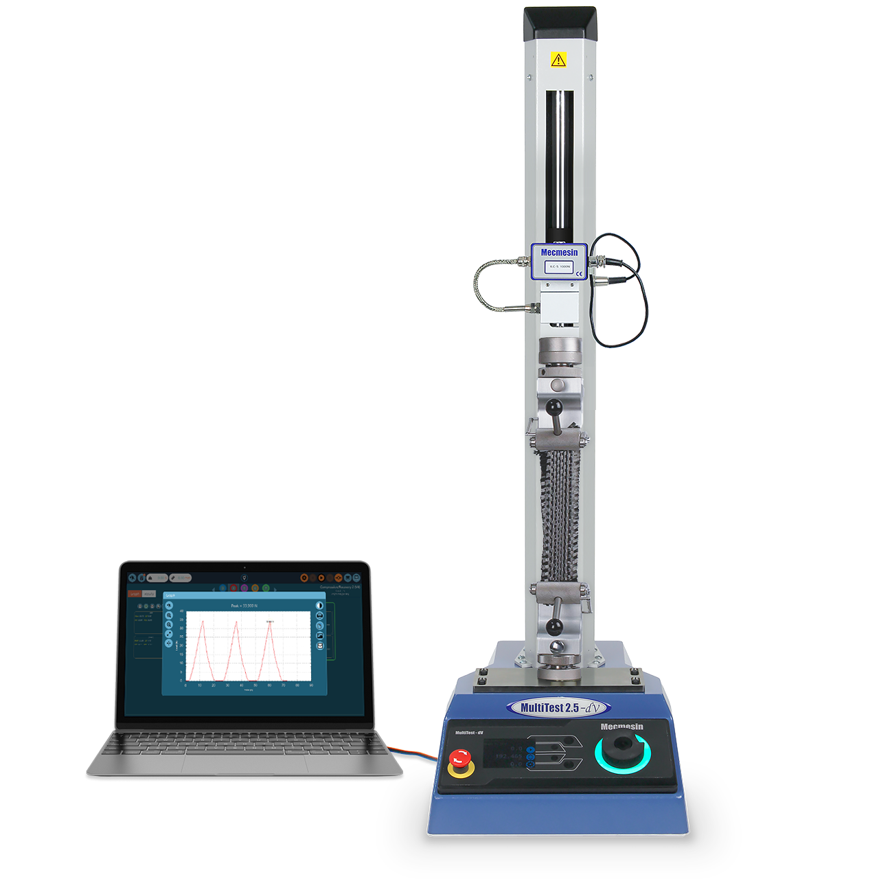 Product image of MultiTest-dV motorised low-force materials tensile tester with sample, pictured with laptop running VectorPro MT tensile testing software