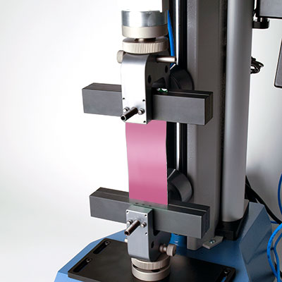 Tensile strength material test, pneumatic jaws, with MultiTest 5-i force tester